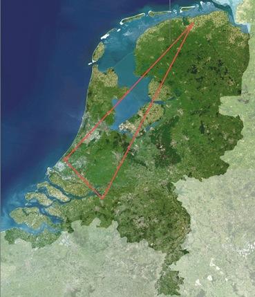 Nederland, landkaart driehoek goed